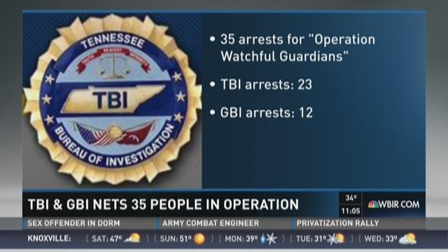 TBI & GBI nets 35 in sting operation