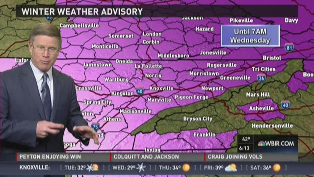 Higher elevations will see snowfall