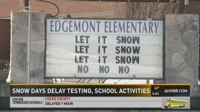 Snow days delay testing, school activities
