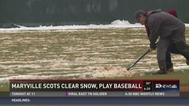 Maryville Scots clear snow, play baseball home opener