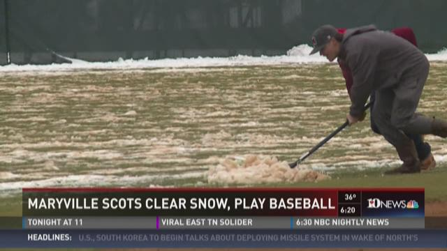 Maryville Scots clear snow, play baseball