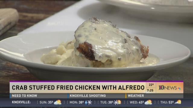 Big Fatty's: Crab stuffed fried chicken with pimento cheese alfredo