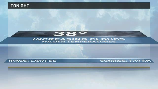 Mild temperatures and scattered showers
