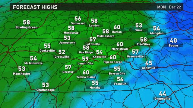 Monday: Morning showers, Highs in 50s