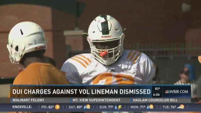 DUI charges against Vol lineman dismissed