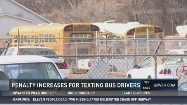 Penalty increasing for texting bus drivers