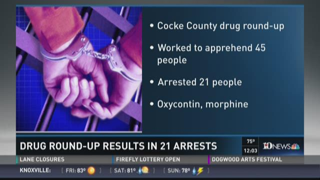 Drug round-up results in 21 arrests