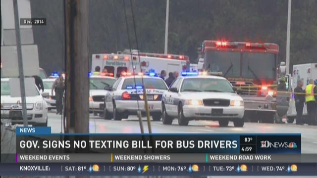 Gov. signs no texting bill for bus drivers