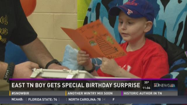 East Tenn. boy with cancer receives birthday surprise
