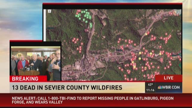 sevier county fire map Interactive Map Shows Gatlinburg Fire Area Wbir Com