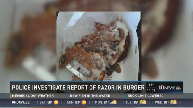Police investigate report of razor in burger