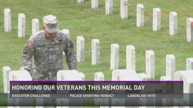 Veteran salutes each grave in cemetery