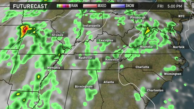 Spotty showers Friday, warm Saturday