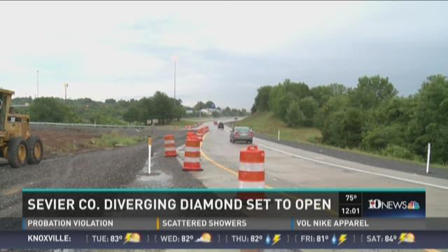 Diverging diamond interchange opening at exit 407