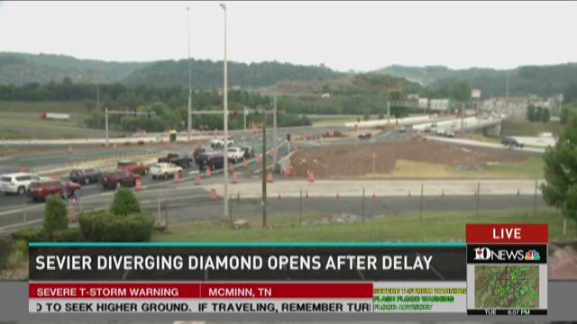 Sevier diverging diamond opens after delay