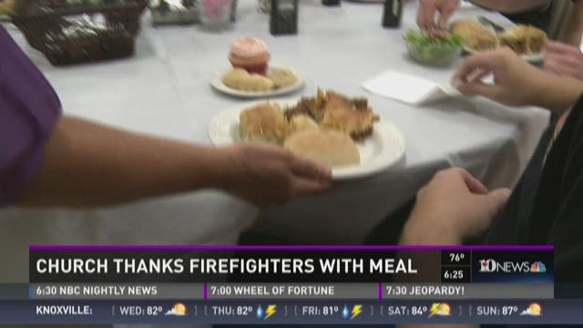 Church thanks firefighters with meal