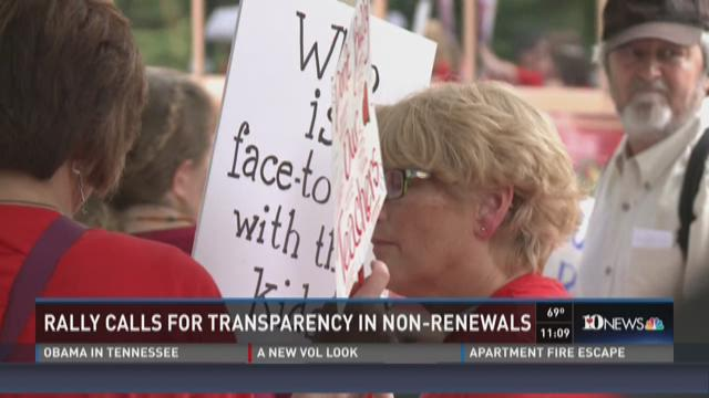 Rally calls for transparency in non-renewals