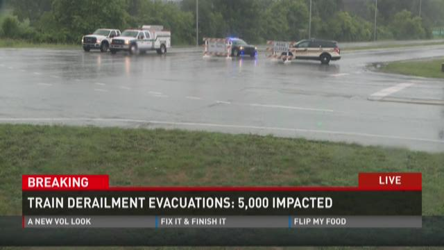 A train fire and derailment evacuates 5,000 in Blount