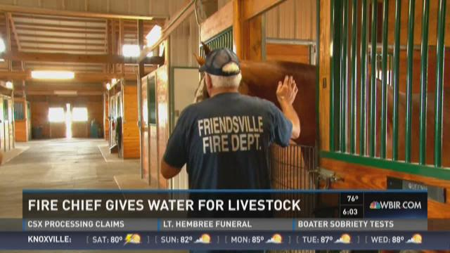Fire chief gives water for livestock