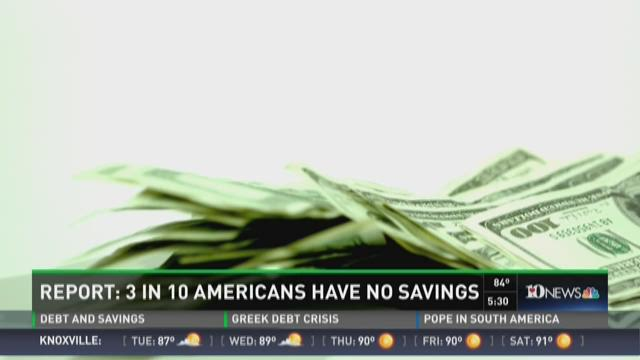 Report: 3 in 10 Americans have no savings