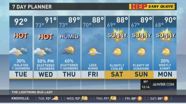More humidity, afternoon showers possible