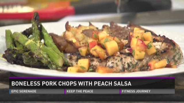 Boneless Pork Chops with Peach Salsa