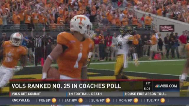 Vols ranked No. 25 in coaches poll