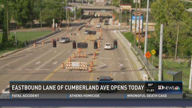 Eastbound lane of Cumberland Ave opened Saturday