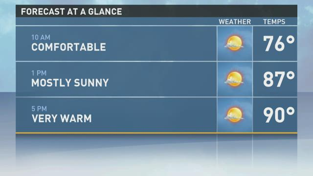 Another day of sunshine and highs in the 90s