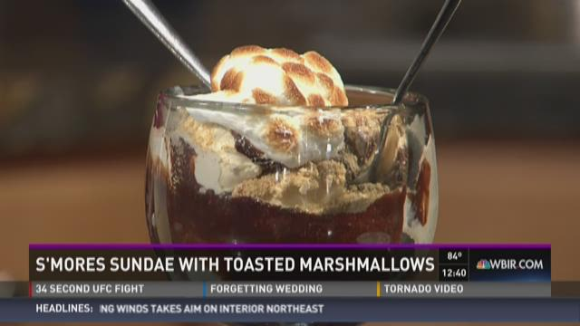 S'mores sundae with toasted marshmallows