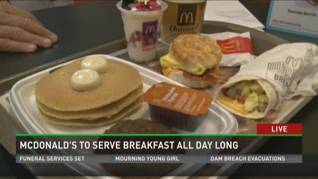 McDonald's to serve breakfast all day long